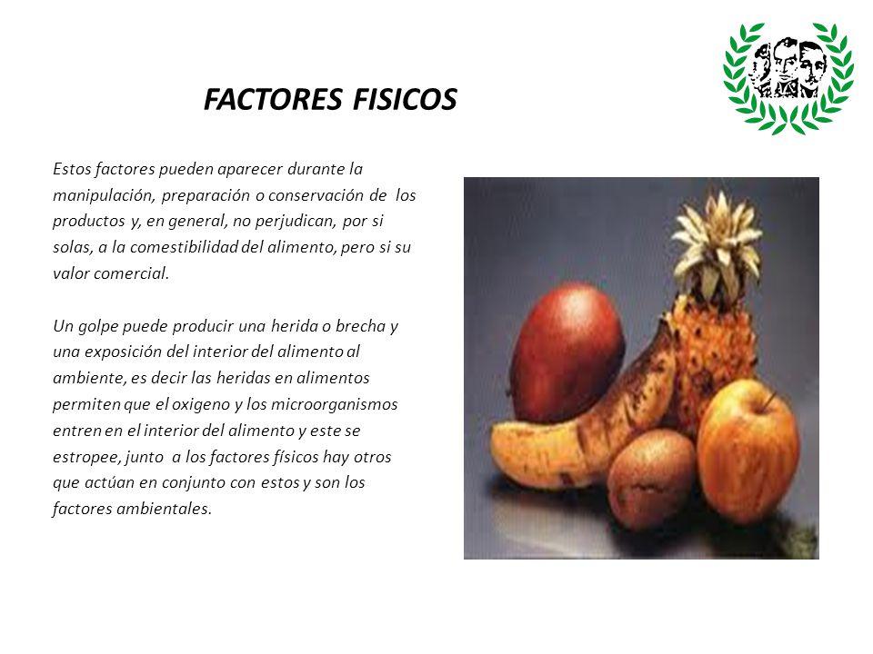 FACTORES FISICOS Estos factores pueden aparecer durante la manipulación, preparación o conservación de los productos y, en general, no perjudican, por