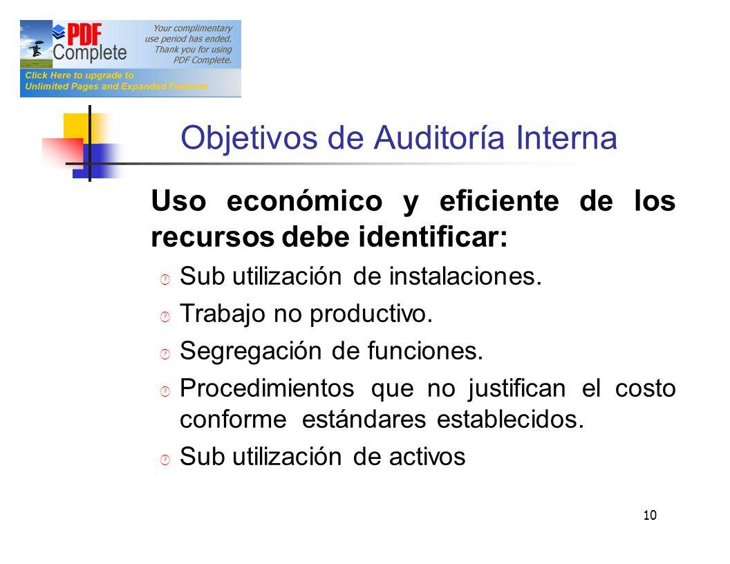 Objetivos deAuditoría Interna Usoeconómicoyeficientedelos recursos debe identificar: Sub utilización de instalaciones. Trabajo no productivo. Segregac