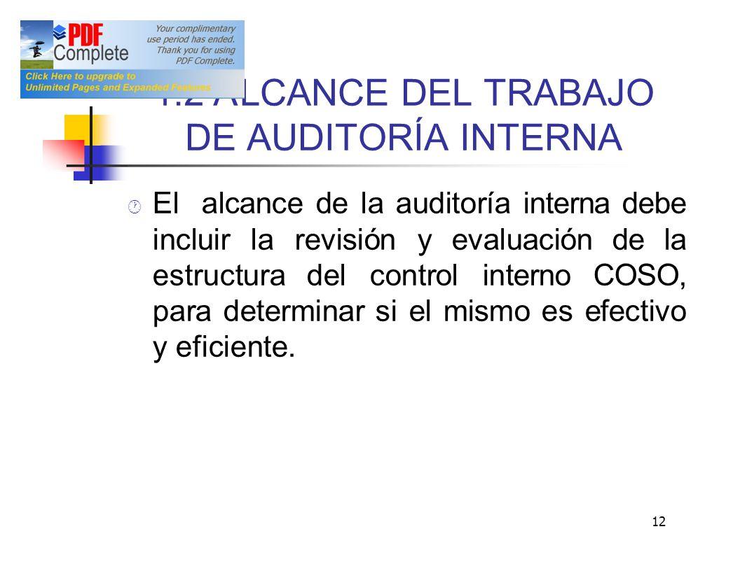1.2 A LCANCE DEL TRABAJO DE AUDITORÍA INTERNA El alcance de la auditoría interna debe incluir la revisión y evaluación de la estructuradel control int