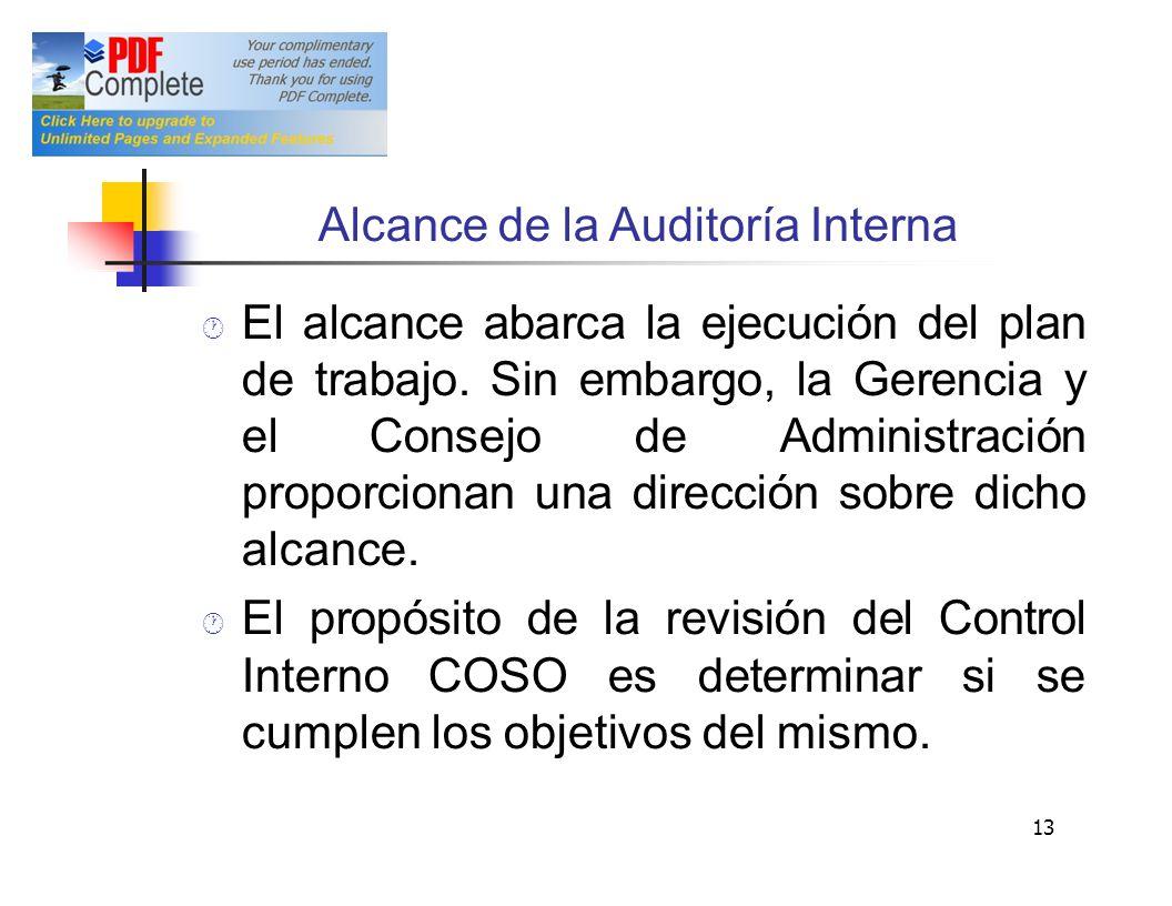 Alcance de la Auditoría Interna El alcance abarca la ejecución del plan de trabajo. Sin embargo, la Gerencia y elConsejo de Administración proporciona