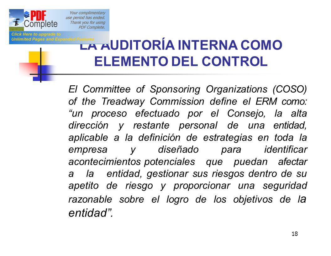 LA AUDITORÍA INTERNA COMO ELEMENTO DEL CONTROL El Committee of Sponsoring Organizations (COSO) of the Treadway Commission define el ERM como:un proces