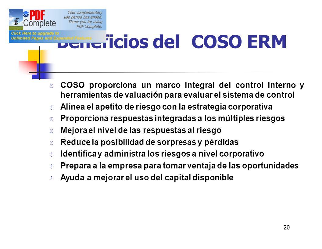 Beneficios delCOSO ERM COSOproporcionaunmarcointegraldelcontrolinternoy herramientas de valuación para evaluar el sistema de control Alinea el apetito