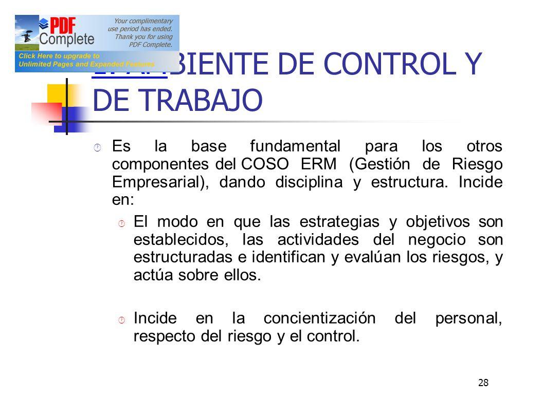 1. AM BIENTE DE CONTROL Y DE TRABAJO Es la base fundamental para los otros componentes delCOSO ERM (Gestión de Riesgo Empresarial), dando disciplina y