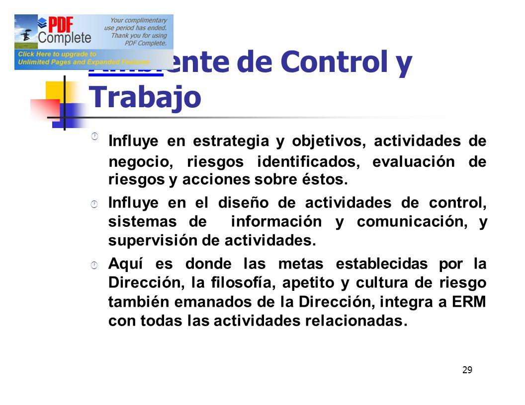 ente de Control y Trabajo Ambi riesgos y acciones sobre éstos. Influye en el diseño de actividades de control, sistemasde información y comunicación,