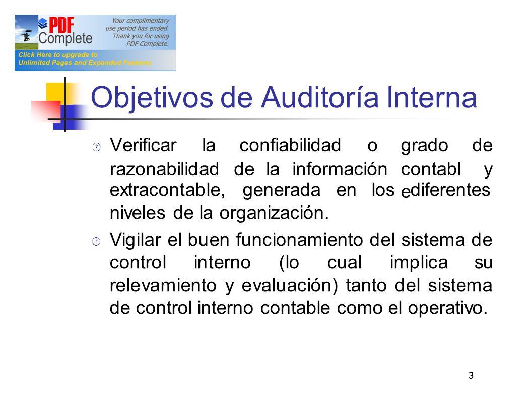 Objetivos de Auditoría Interna extracontable,generadaenlosdiferentes niveles de la organización. Vigilar el buen funcionamiento del sistema de control