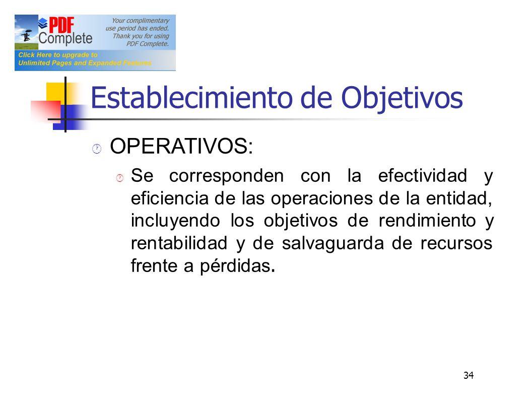 Establecimiento de Objetivos OPERATIVOS: Se corresponden con la efectividad y eficiencia de las operaciones de la entidad, incluyendo los objetivos de
