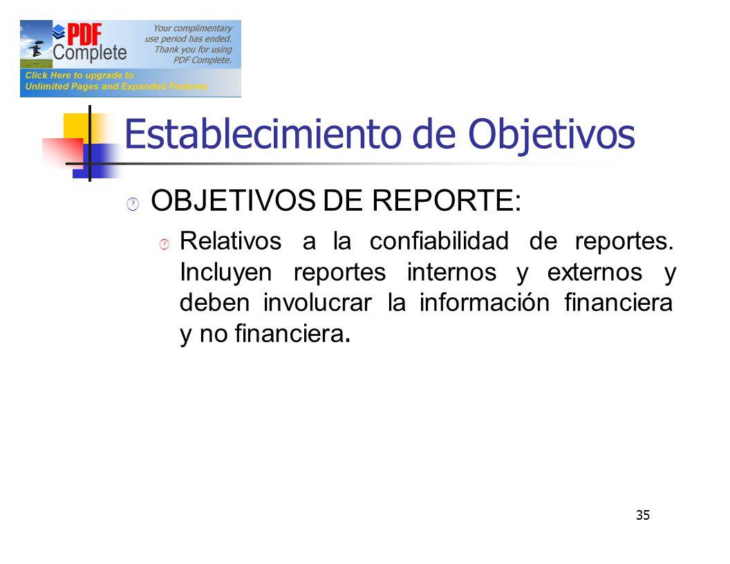 Establecimiento de Objetivos OBJETIVOS DE REPORTE: Relativosalaconfiabilidaddereportes. Incluyenreportesinternosyexternosy debeninvolucrarlainformació