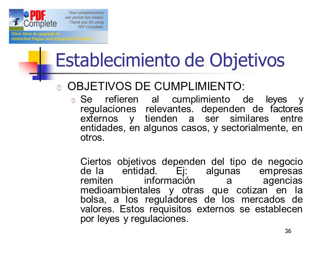 Establecimiento de Objetivos OBJETIVOS DE CUMPLIMIENTO: Se refieren al cumplimiento de leyes y regulaciones relevantes. dependen de factores externos