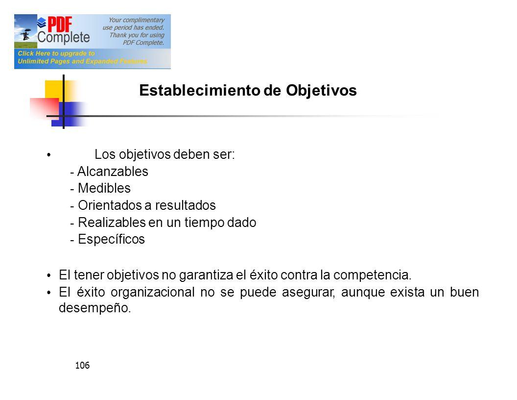 106 Los objetivos deben ser: - Alcanzables - Medibles - Orientados a resultados - Realizables en un tiempo dado - Específicos El tener objetivos no ga