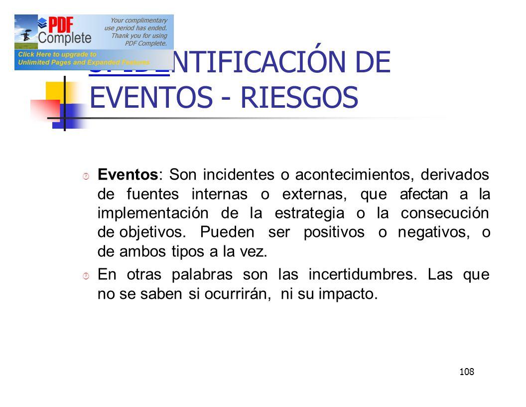 108 3. IDE NTIFICACIÓN DE EVENTOS - RIESGOS Eventos: Son incidentes o acontecimientos, derivados defuentes internas o externas, que afectan a la imple