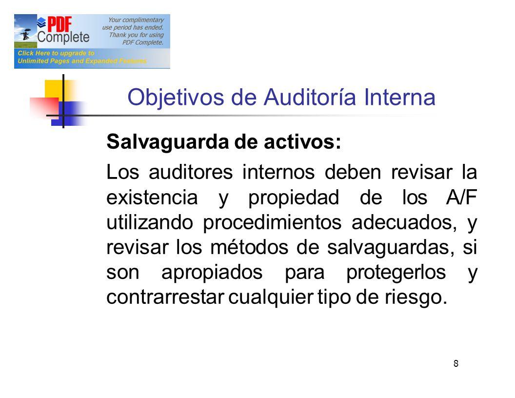 Objetivos deAuditoría Interna Salvaguarda de activos: Los auditores internos deben revisar la existencia y propiedad de los A/F utilizando procedimien