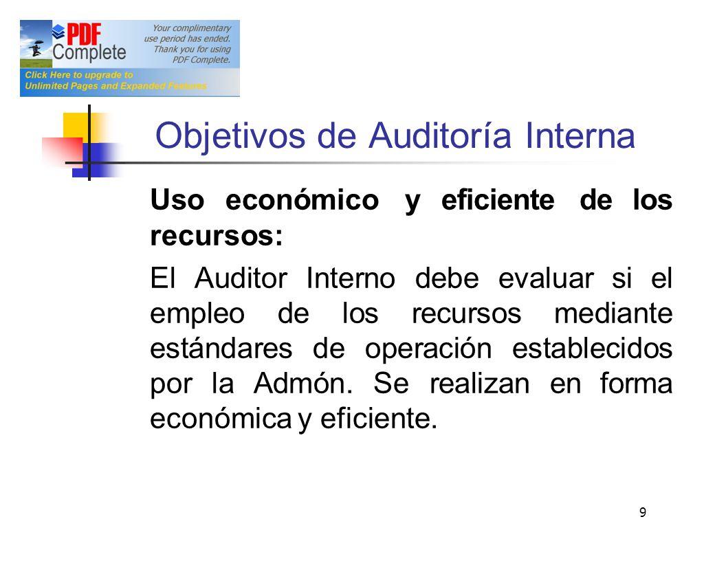 Objetivos de Auditoría Interna Uso económico y eficiente de los recursos: El Auditor Interno debe evaluar si el empleo de los recursos mediante estánd