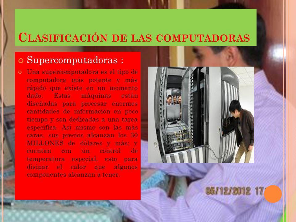 C LASIFICACIÓN DE LAS COMPUTADORAS : Supercomputador as Macrocomputadoras Minicomputador as Microcomputador as o Paz