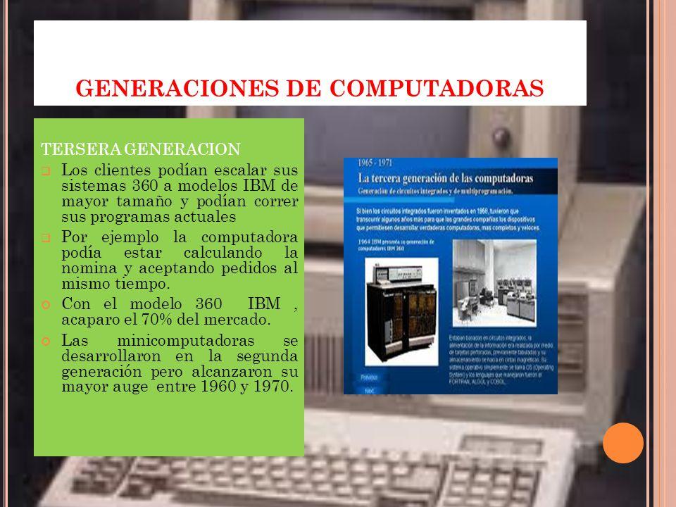 GENERACIONES DE COMPUTADORAS TERSERA GENERACION Los clientes podían escalar sus sistemas 360 a modelos IBM de mayor tamaño y podían correr sus programas actuales Por ejemplo la computadora podía estar calculando la nomina y aceptando pedidos al mismo tiempo.