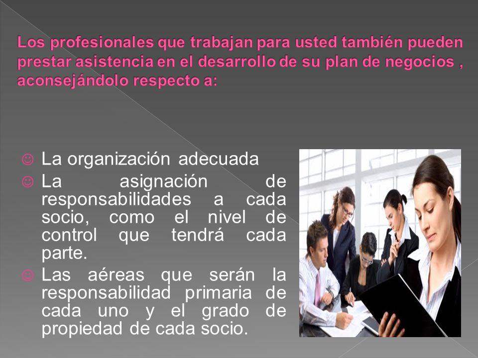 La organización adecuada La asignación de responsabilidades a cada socio, como el nivel de control que tendrá cada parte.