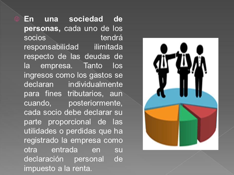 En una sociedad de personas, cada uno de los socios tendrá responsabilidad ilimitada respecto de las deudas de la empresa.