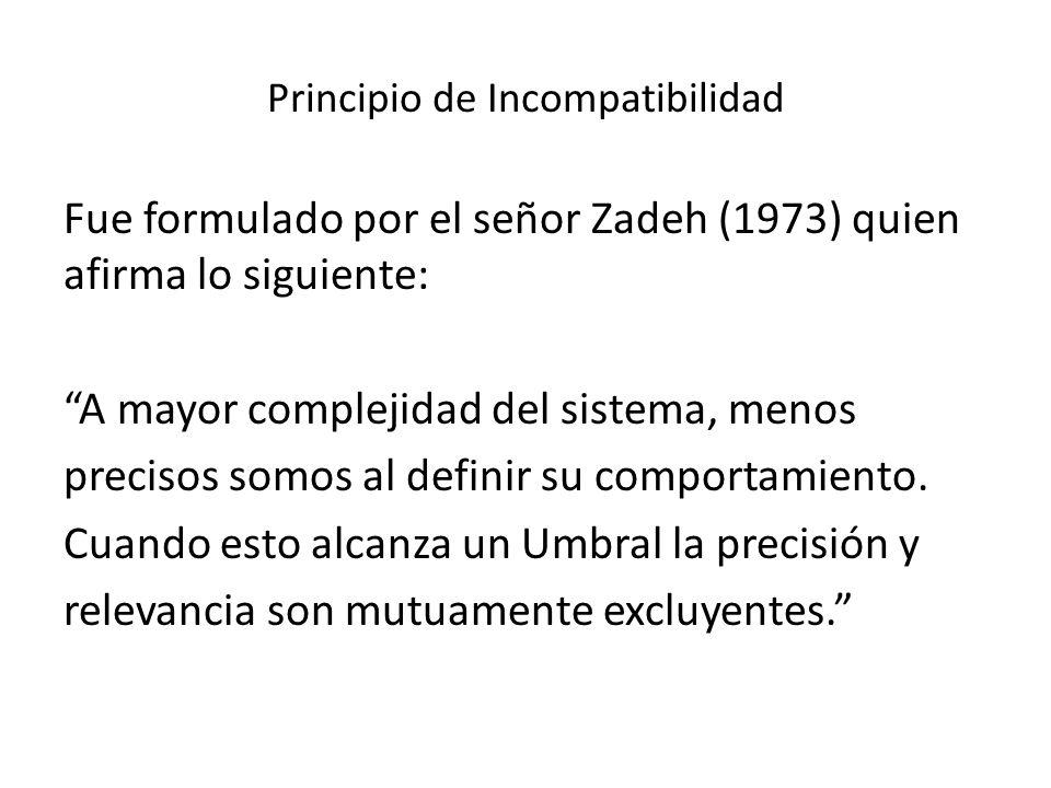 Principio de Incompatibilidad Fue formulado por el señor Zadeh (1973) quien afirma lo siguiente: A mayor complejidad del sistema, menos precisos somos