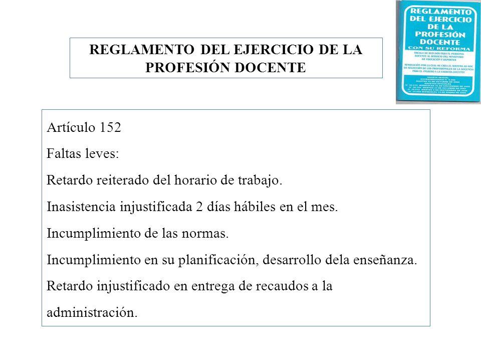 Artículo 152 Faltas leves: Retardo reiterado del horario de trabajo. Inasistencia injustificada 2 días hábiles en el mes. Incumplimiento de las normas