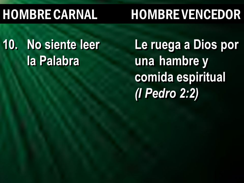 15 HOMBRE CARNAL HOMBRE VENCEDOR Le ruega a Dios por una hambre y comida espiritual (I Pedro 2:2) Le ruega a Dios por una hambre y comida espiritual (