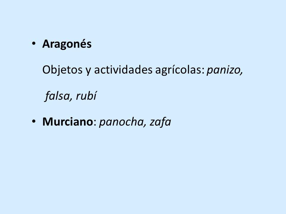 Aragonés Objetos y actividades agrícolas: panizo, falsa, rubí Murciano: panocha, zafa
