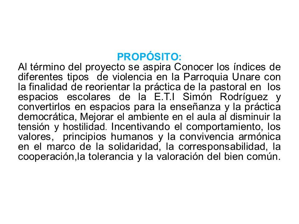 PROPÓSITO: Al término del proyecto se aspira Conocer los índices de diferentes tipos de violencia en la Parroquia Unare con la finalidad de reorientar