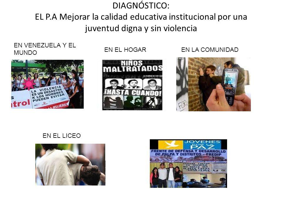 DIAGNÓSTICO: EL P.A Mejorar la calidad educativa institucional por una juventud digna y sin violencia EN VENEZUELA Y EL MUNDO EN EL HOGAREN LA COMUNID
