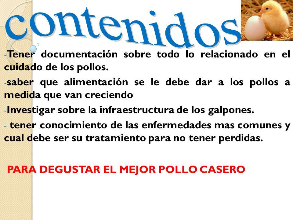 - fijar una fecha exacta para la construcción de los galpones. -distribuir bien las actividades para un buen desarrollo del proyecto ( aseo, alimentac