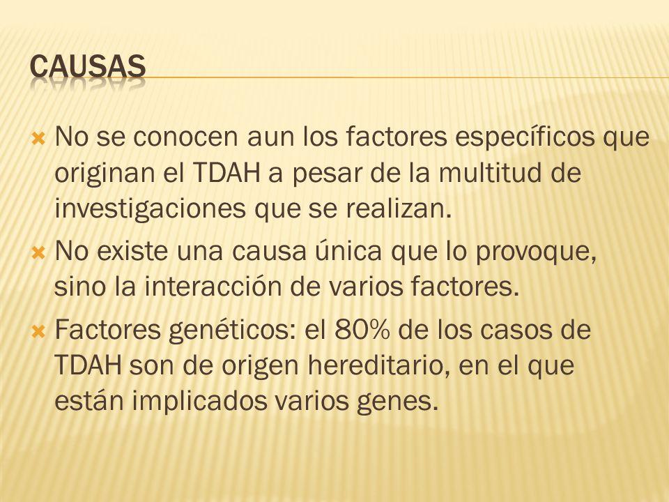 No se conocen aun los factores específicos que originan el TDAH a pesar de la multitud de investigaciones que se realizan. No existe una causa única q