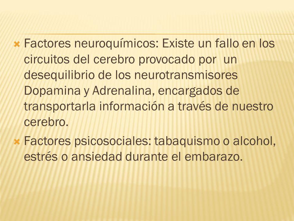 Factores neuroquímicos: Existe un fallo en los circuitos del cerebro provocado por un desequilibrio de los neurotransmisores Dopamina y Adrenalina, en