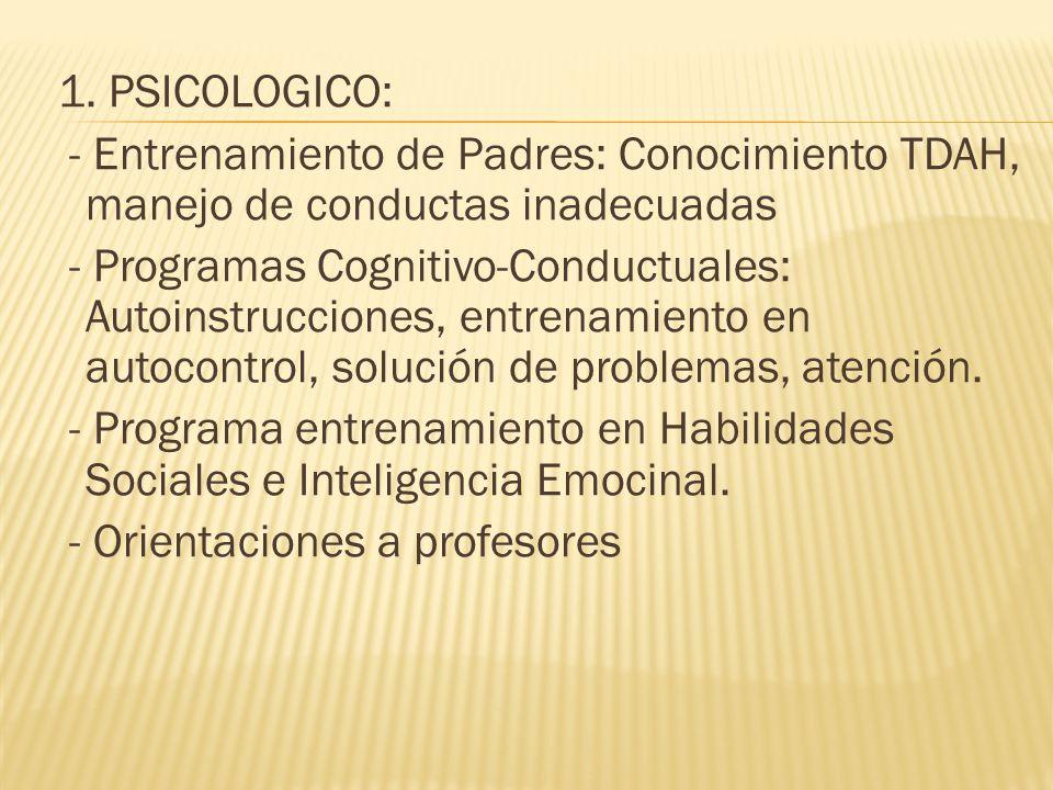 1. PSICOLOGICO: - Entrenamiento de Padres: Conocimiento TDAH, manejo de conductas inadecuadas - Programas Cognitivo-Conductuales: Autoinstrucciones, e