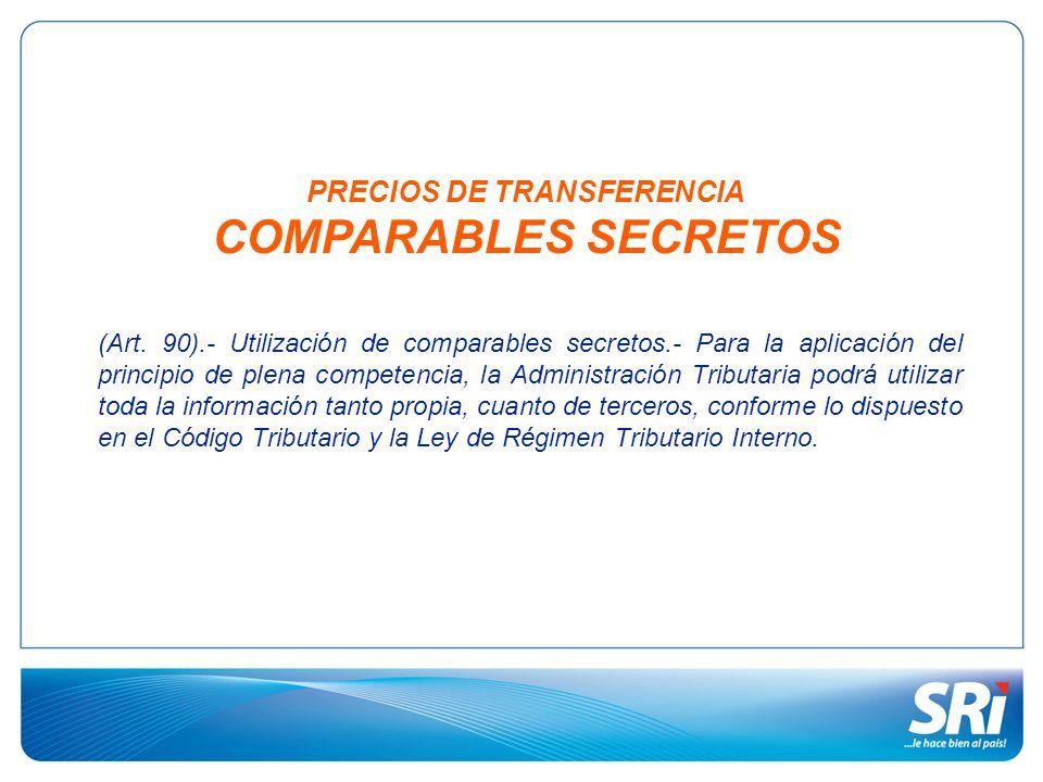 PRECIOS DE TRANSFERENCIA COMPARABLES SECRETOS (Art. 90).- Utilización de comparables secretos.- Para la aplicación del principio de plena competencia,