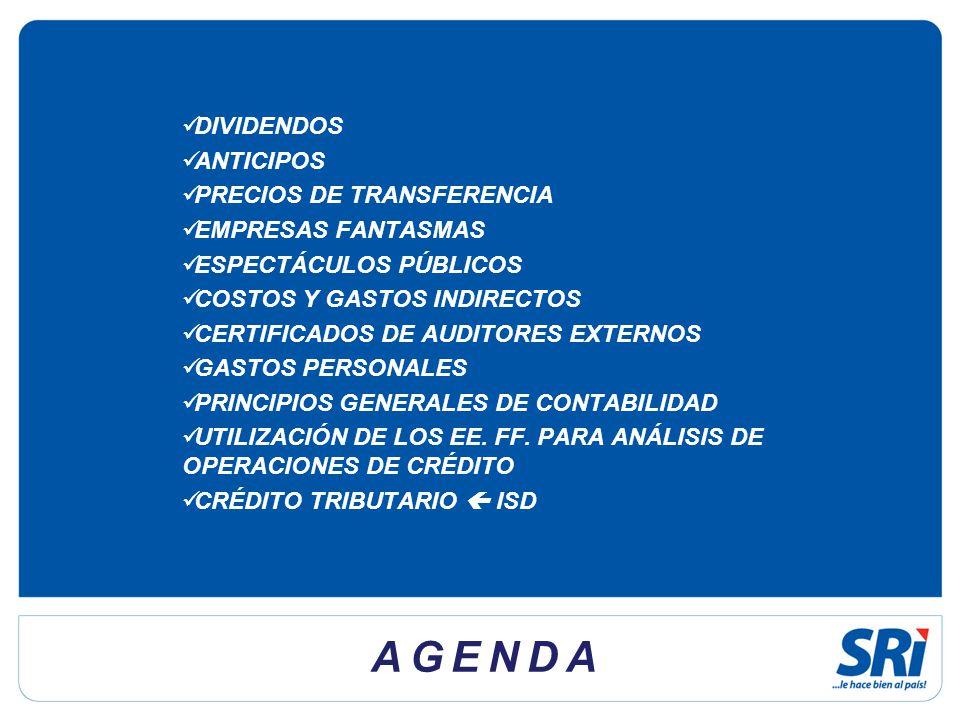 AGENDA DIVIDENDOS ANTICIPOS PRECIOS DE TRANSFERENCIA EMPRESAS FANTASMAS ESPECTÁCULOS PÚBLICOS COSTOS Y GASTOS INDIRECTOS CERTIFICADOS DE AUDITORES EXTERNOS GASTOS PERSONALES PRINCIPIOS GENERALES DE CONTABILIDAD UTILIZACIÓN DE LOS EE.