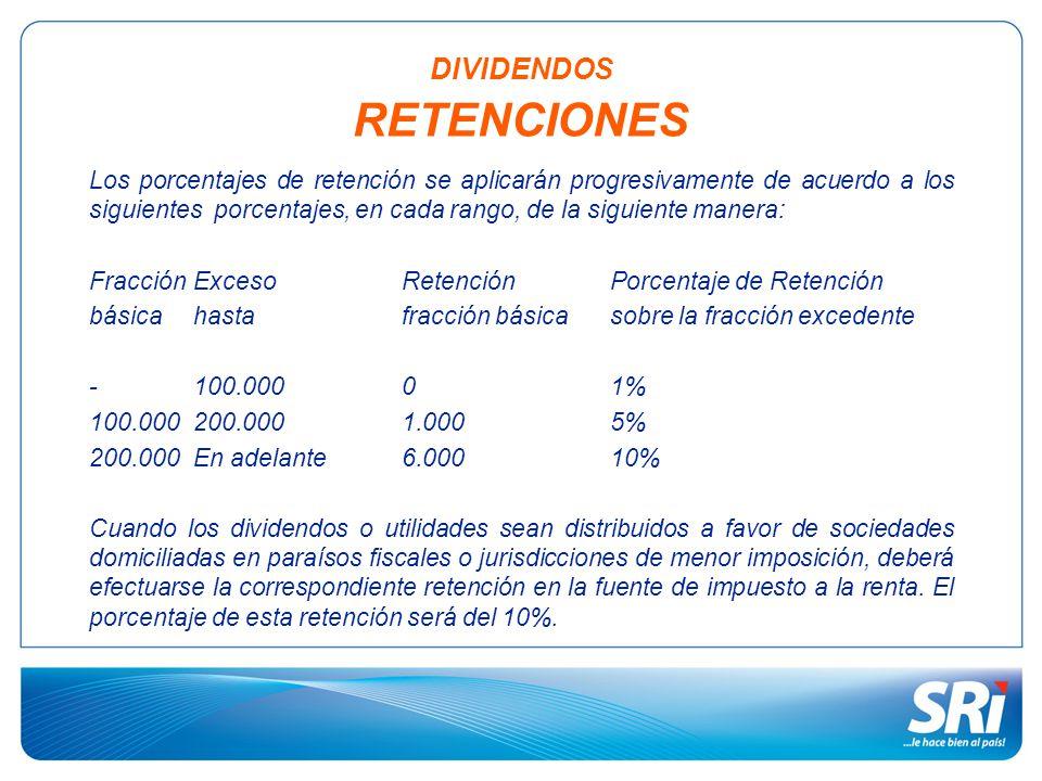Los porcentajes de retención se aplicarán progresivamente de acuerdo a los siguientes porcentajes, en cada rango, de la siguiente manera: Fracción Exceso Retención Porcentaje de Retención básicahastafracción básicasobre la fracción excedente - 100.00001% 100.000200.0001.0005% 200.000 En adelante6.00010% Cuando los dividendos o utilidades sean distribuidos a favor de sociedades domiciliadas en paraísos fiscales o jurisdicciones de menor imposición, deberá efectuarse la correspondiente retención en la fuente de impuesto a la renta.