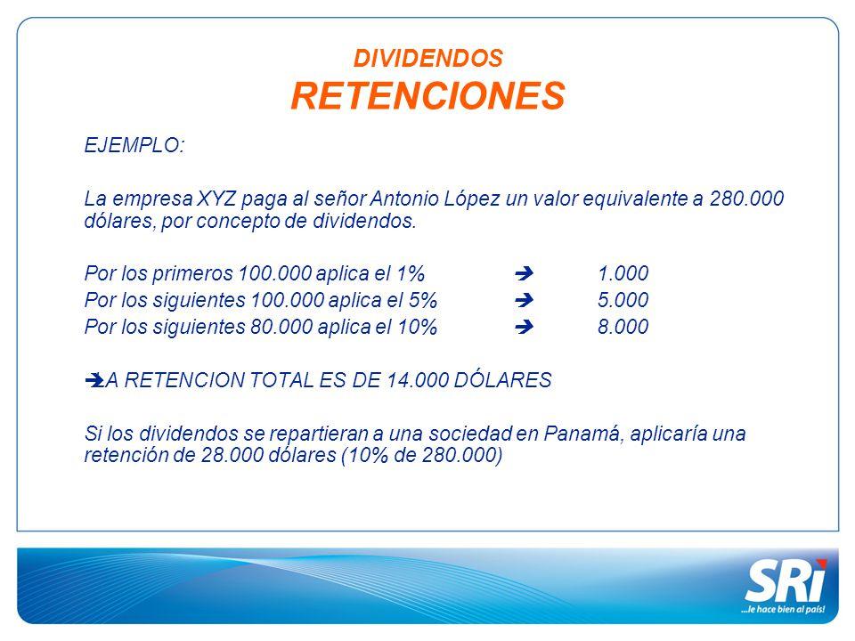 EJEMPLO: La empresa XYZ paga al señor Antonio López un valor equivalente a 280.000 dólares, por concepto de dividendos. Por los primeros 100.000 aplic