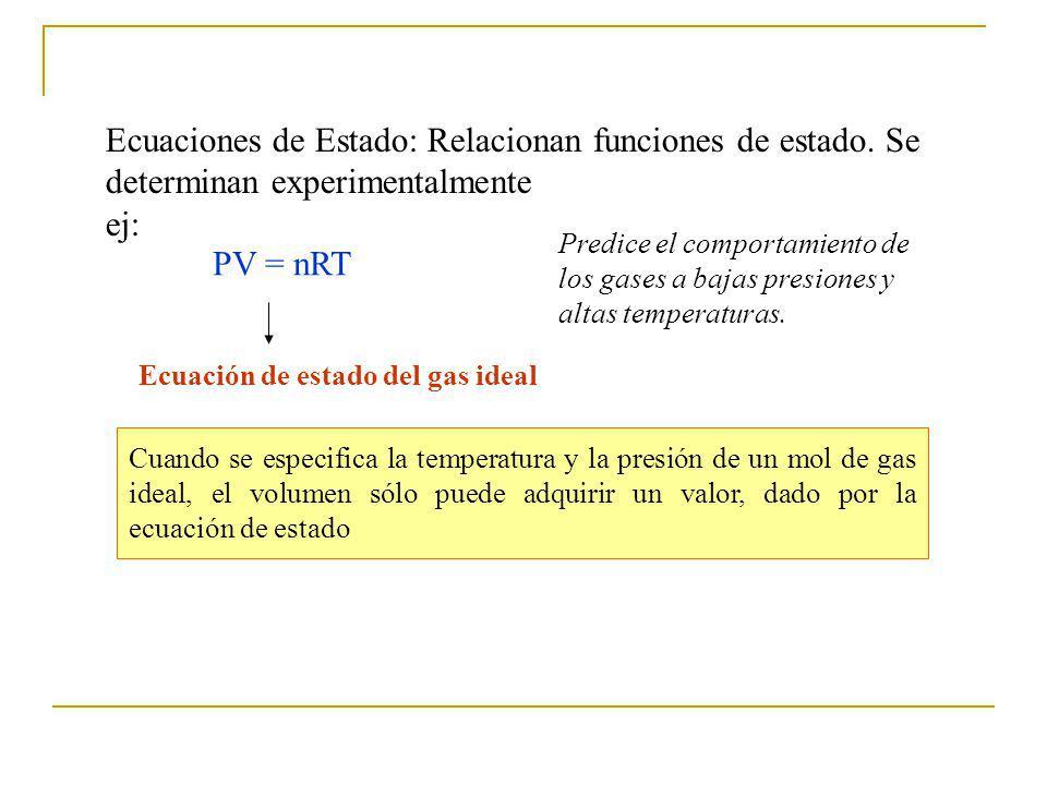 Ecuaciones de Estado: Relacionan funciones de estado.