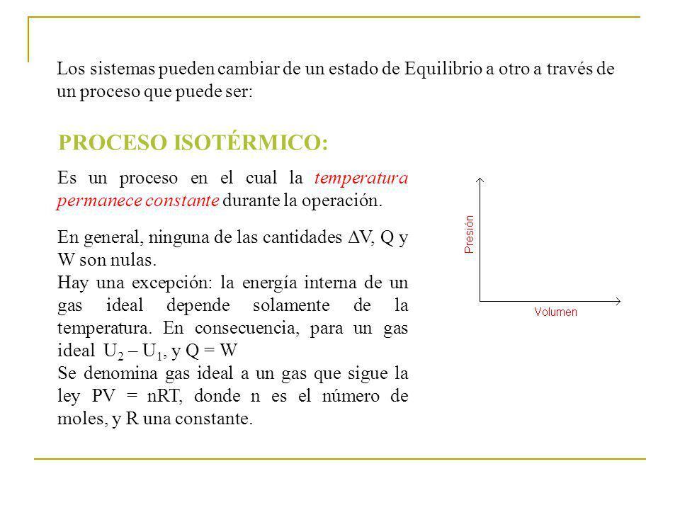 Los sistemas pueden cambiar de un estado de Equilibrio a otro a través de un proceso que puede ser: PROCESO ISOTÉRMICO: Es un proceso en el cual la temperatura permanece constante durante la operación.