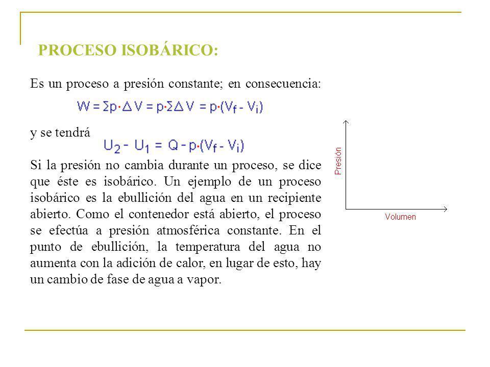 Es un proceso a presión constante; en consecuencia: y se tendrá Si la presión no cambia durante un proceso, se dice que éste es isobárico. Un ejemplo