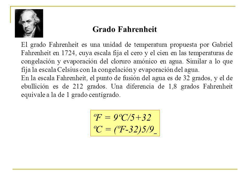 Grado Fahrenheit El grado Fahrenheit es una unidad de temperatura propuesta por Gabriel Fahrenheit en 1724, cuya escala fija el cero y el cien en las temperaturas de congelación y evaporación del cloruro amónico en agua.