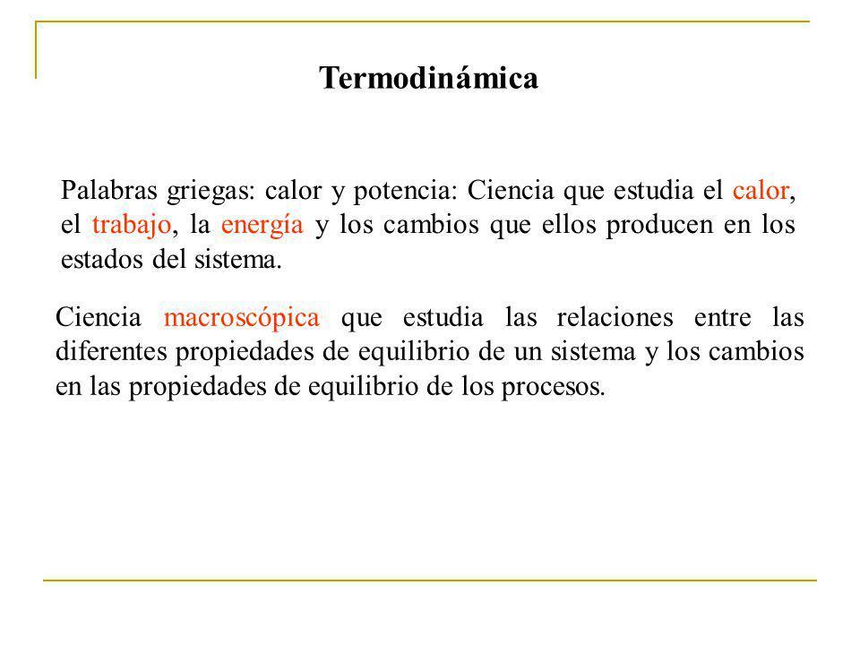 Un sistema se encuentra en equilibrio termodinámico si no hay una fuerza resultante que actúe sobre el sistema y si la temperatrua del sistema es la misma que la de sus alrededores.