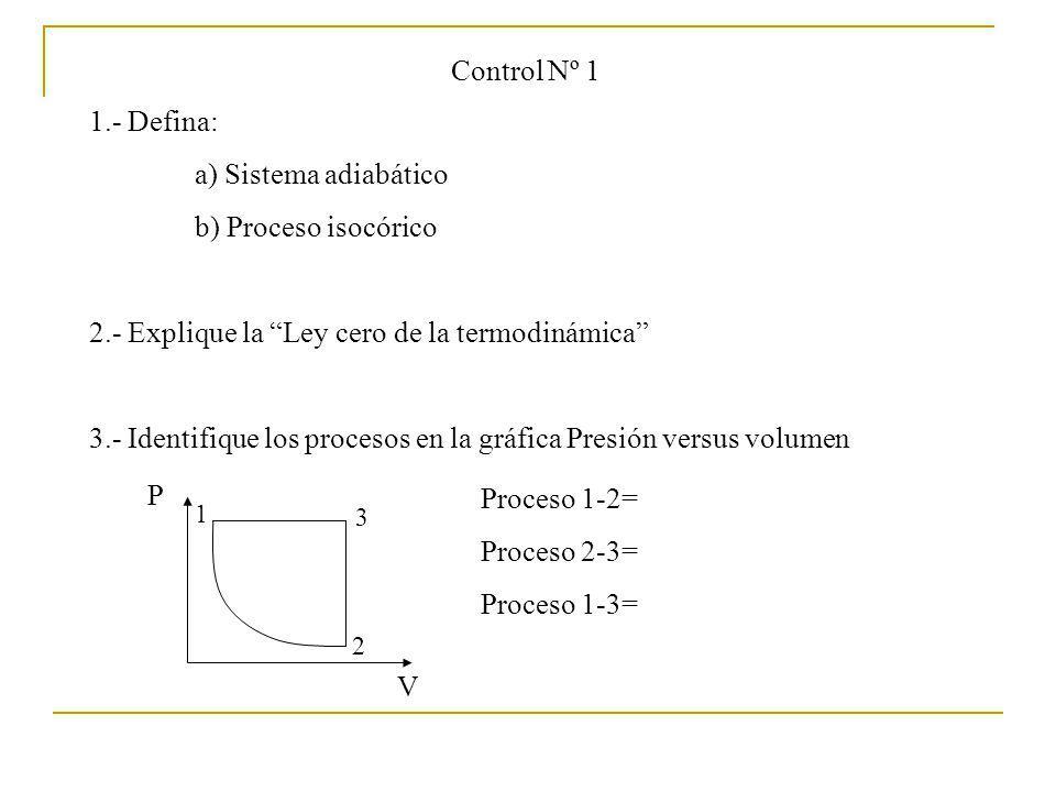Control Nº 1 1.- Defina: a) Sistema adiabático b) Proceso isocórico 2.- Explique la Ley cero de la termodinámica 3.- Identifique los procesos en la gr