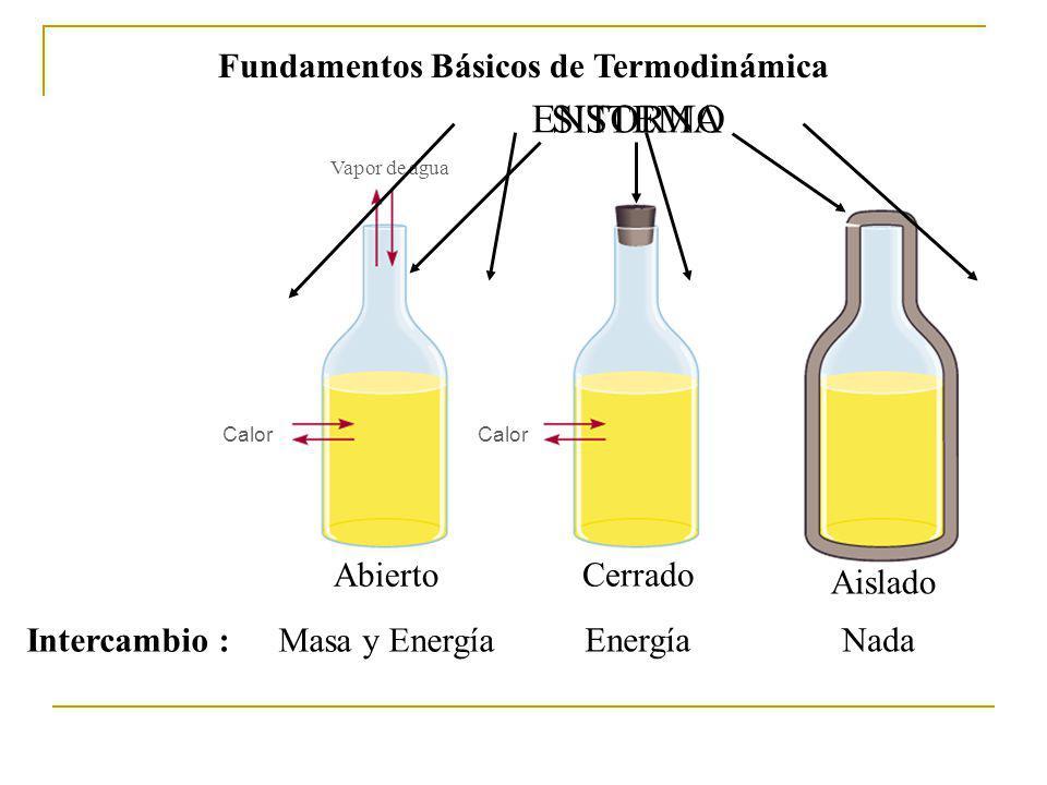 Fundamentos Básicos de Termodinámica Un sistema puede estar separado de su medio ambiente por varios tipos de paredes o Limites o frontera, las cuales puede ser: Permeables - Intercambio de materia - Intercambio de Energía Sistema Entorno Frontera Impermeables - No hay intercambio de materia - Intercambio de Energía a) Permeables o Semipermeables b) Impermeables o Rígidos c) Adiabáticas d) Diatérmicas