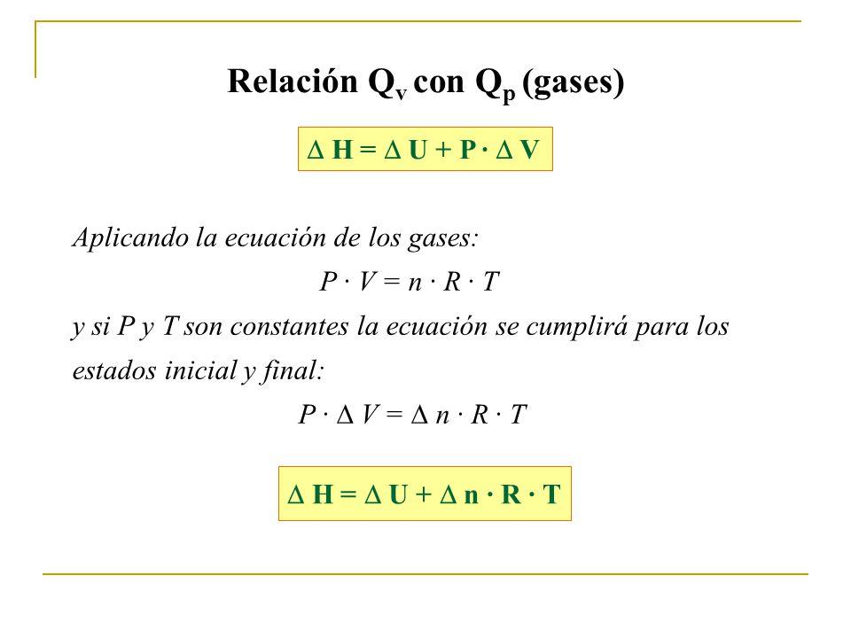 Relación Q v con Q p (gases) H = U + P · V Aplicando la ecuación de los gases: P · V = n · R · T y si P y T son constantes la ecuación se cumplirá para los estados inicial y final: P · V = n · R · T H = U + n · R · T