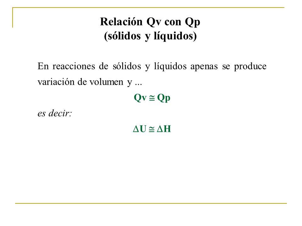 Relación Qv con Qp (sólidos y líquidos) En reacciones de sólidos y líquidos apenas se produce variación de volumen y...