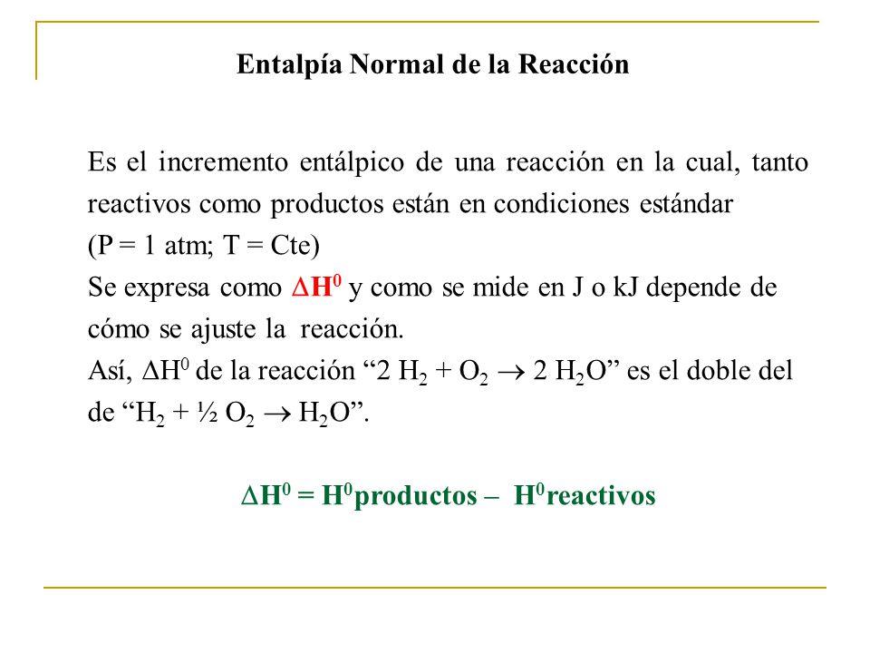 Entalpía Normal de la Reacción Es el incremento entálpico de una reacción en la cual, tanto reactivos como productos están en condiciones estándar (P = 1 atm; T = Cte) Se expresa como H 0 y como se mide en J o kJ depende de cómo se ajuste la reacción.
