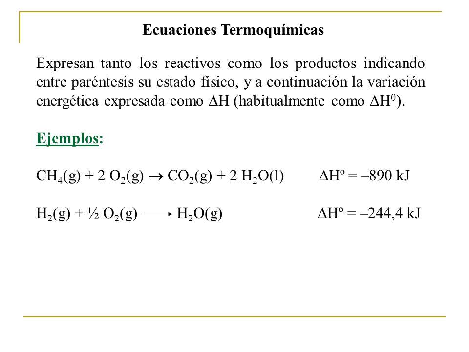 Ecuaciones Termoquímicas Expresan tanto los reactivos como los productos indicando entre paréntesis su estado físico, y a continuación la variación energética expresada como H (habitualmente como H 0 ).