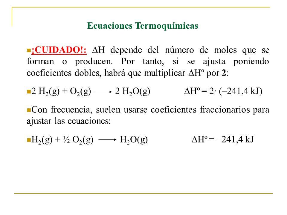 Ecuaciones Termoquímicas ¡CUIDADO!: H depende del número de moles que se forman o producen.