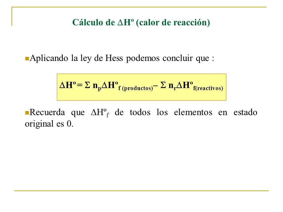 Cálculo de Hº (calor de reacción) Aplicando la ley de Hess podemos concluir que : Hº = n p Hº f (productos) – n r Hº f(reactivos) Recuerda que Hº f de todos los elementos en estado original es 0.