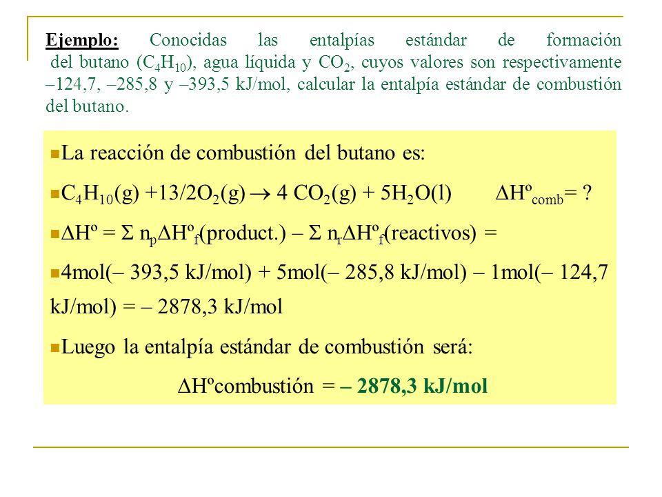 Ejemplo: Conocidas las entalpías estándar de formación del butano (C 4 H 10 ), agua líquida y CO 2, cuyos valores son respectivamente –124,7, –285,8 y –393,5 kJ/mol, calcular la entalpía estándar de combustión del butano.