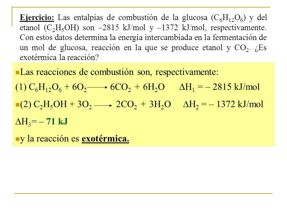 Ejercicio: Las entalpías de combustión de la glucosa (C 6 H 12 O 6 ) y del etanol (C 2 H 5 OH) son –2815 kJ/mol y –1372 kJ/mol, respectivamente.