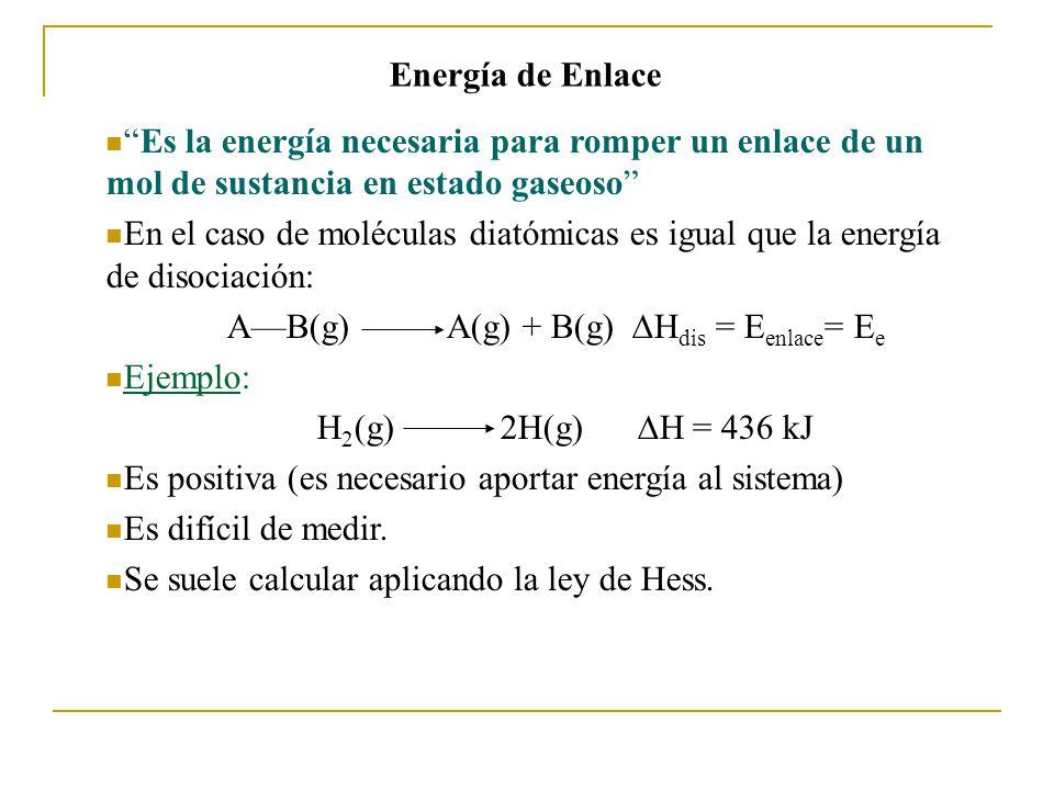 Energía de Enlace Es la energía necesaria para romper un enlace de un mol de sustancia en estado gaseoso En el caso de moléculas diatómicas es igual que la energía de disociación: AB(g) A(g) + B(g) H dis = E enlace = E e Ejemplo: H 2 (g) 2H(g) H = 436 kJ Es positiva (es necesario aportar energía al sistema) Es difícil de medir.